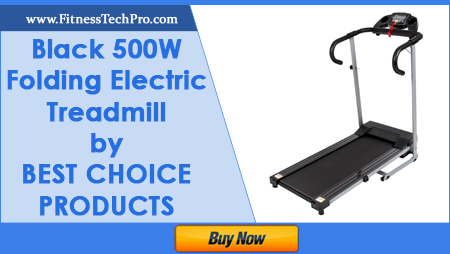 Black 500W Folding Electric Treadmill