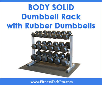 Body Solid Dumbbell Rack with Rubber Dumbbells