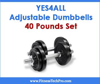 Yes4All Adjustable Dumbbells 40 Pounds Set