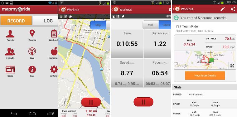 mapmyride app screenshot