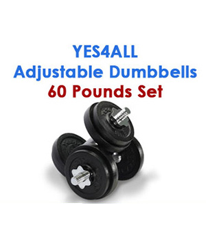 Yes4All Adjustable Dumbbells 60 pounds