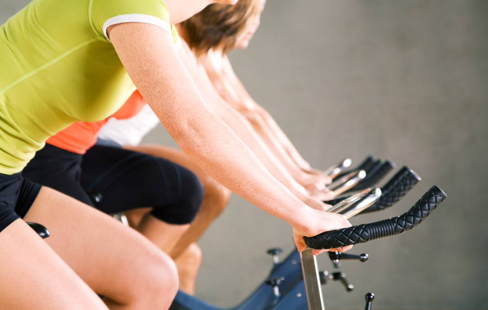 woman in bike exercise