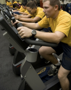 people using exercise bikes